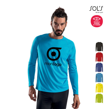 TEE SHIRT RESPIRANT MANCHES LONGUES PERSONNALISABLE HOMME 'KOURY' 140 GR/M²