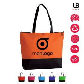 SAC SHOPPING PUBLICITAIRE BICOLORE ANSES LONGUES 'LUPITA' 100 GR/M²